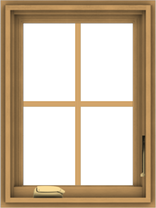 WDMA 18x24 (17.5 x 23.5 inch) Pine Wood Dark Grey Aluminum Crank out Casement Window with Colonial Grids