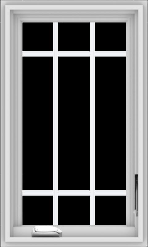 WDMA 18x30 (17.5 x 29.5 inch) White Vinyl uPVC Crank out Casement Window with Prairie Grilles