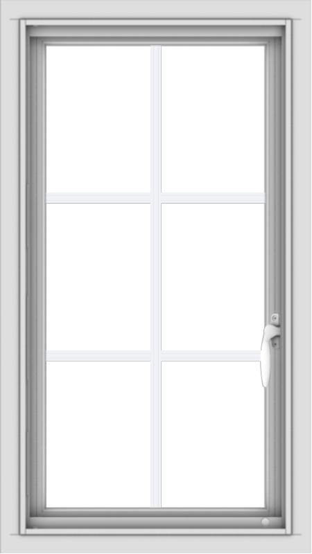 WDMA 18x32 (17.5 x 31.5 inch) Vinyl uPVC White Push out Casement Window with Colonial Grids