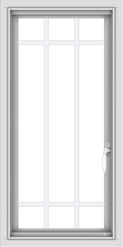 WDMA 18x36 (17.5 x 35.5 inch) Vinyl uPVC White Push out Casement Window with Prairie Grilles
