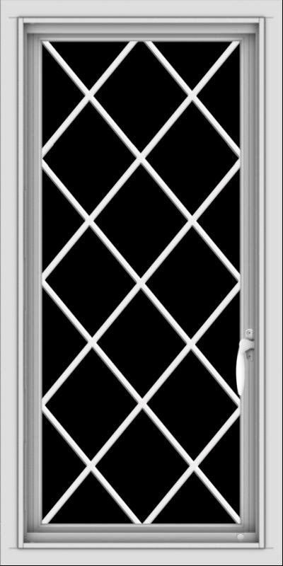 WDMA 18x36 (17.5 x 35.5 inch) Vinyl uPVC White Push out Casement Window  with Diamond Grills