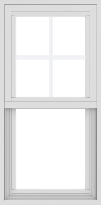 WDMA 18x36 (17.5 x 35.5 inch) Vinyl uPVC White Single Hung Double Hung Window with Top Colonial Grids Exterior