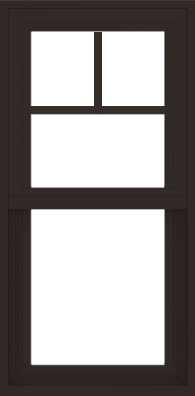 WDMA 18x36 (17.5 x 35.5 inch) Vinyl uPVC Dark Brown Single Hung Double Hung Window with Fractional Grids Interior