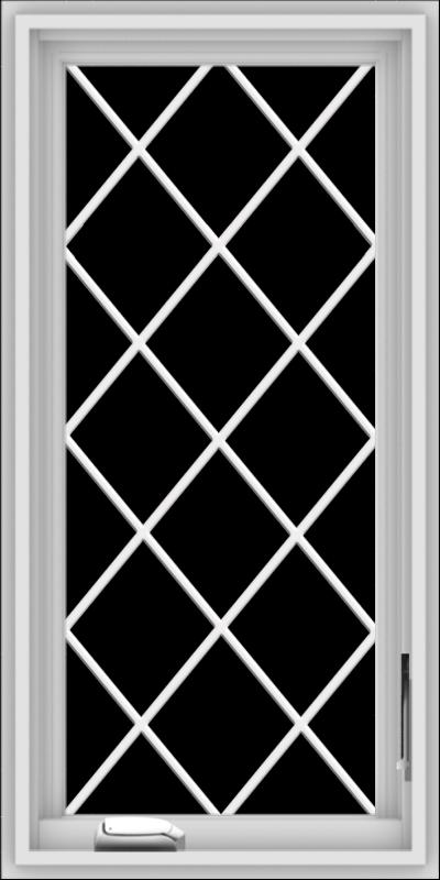 WDMA 18x36 (17.5 x 35.5 inch) White Vinyl uPVC Crank out Casement Window  with Diamond Grills