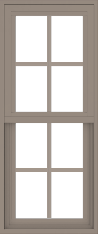 WDMA 18x42 (17.5 x 41.5 inch) Vinyl uPVC Brown Single Hung Double Hung Window with Colonial Grids Exterior