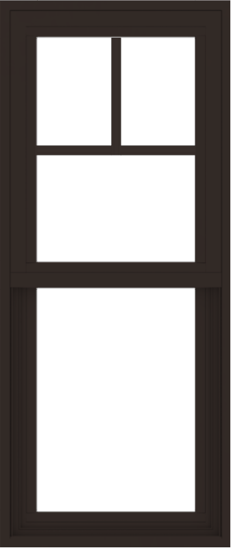 WDMA 18x42 (17.5 x 41.5 inch) Vinyl uPVC Dark Brown Single Hung Double Hung Window with Fractional Grids Interior