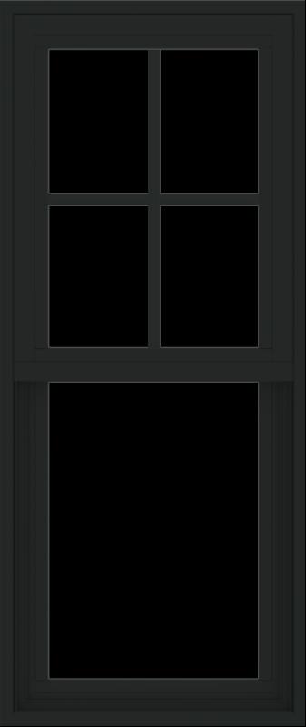 WDMA 18x42 (17.5 x 41.5 inch) Vinyl uPVC Black Single Hung Double Hung Window with Prairie Grids Interior