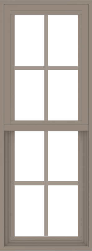 WDMA 18x48 (17.5 x 47.5 inch) Vinyl uPVC Brown Single Hung Double Hung Window with Colonial Grids Exterior