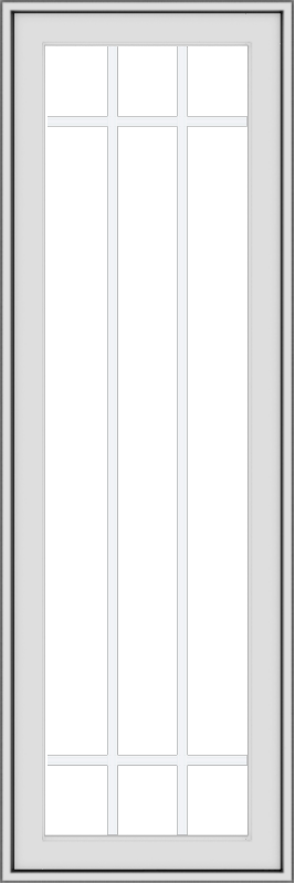WDMA 18x54 (17.5 x 53.5 inch) uPVC Vinyl White push out Casement Window with Prairie Grilles