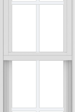 WDMA 18x54 (17.5 x 53.5 inch) Vinyl uPVC White Single Hung Double Hung Window with Colonial Grids Exterior