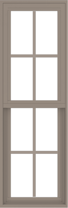 WDMA 18x54 (17.5 x 53.5 inch) Vinyl uPVC Brown Single Hung Double Hung Window with Colonial Grids Exterior