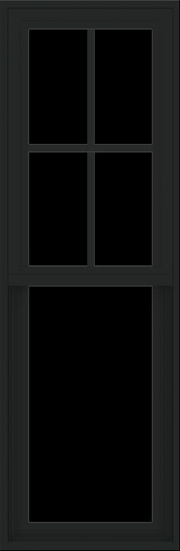 WDMA 18x54 (17.5 x 53.5 inch) Vinyl uPVC Black Single Hung Double Hung Window with Prairie Grids Interior