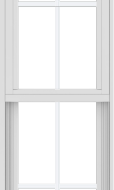 WDMA 18x60 (17.5 x 59.5 inch) Vinyl uPVC White Single Hung Double Hung Window with Colonial Grids Exterior