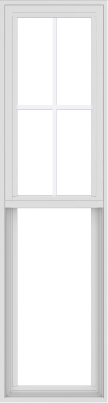 WDMA 18x66 (17.5 x 65.5 inch) Vinyl uPVC White Single Hung Double Hung Window with Top Colonial Grids Exterior