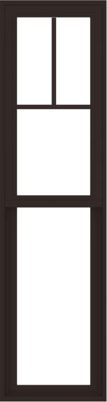 WDMA 18x66 (17.5 x 65.5 inch) Vinyl uPVC Dark Brown Single Hung Double Hung Window with Fractional Grids Interior