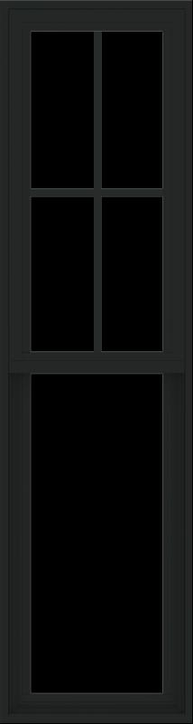 WDMA 18x66 (17.5 x 65.5 inch) Vinyl uPVC Black Single Hung Double Hung Window with Prairie Grids Interior