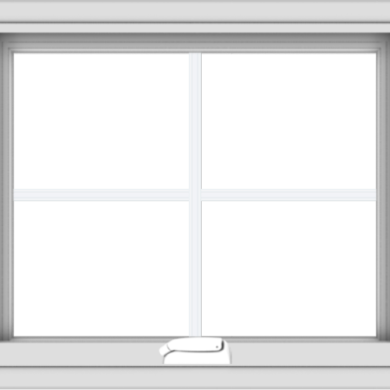 WDMA 24x20 (23.5 x 19.5 inch) White Vinyl uPVC Crank out Awning Window with Colonial Grids Interior
