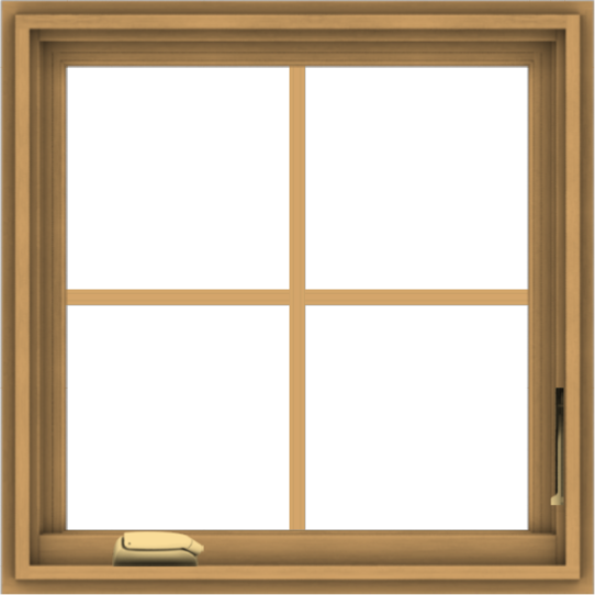 WDMA 24x24 (23.5 x 23.5 inch) Pine Wood Dark Grey Aluminum Crank out Casement Window with Colonial Grids