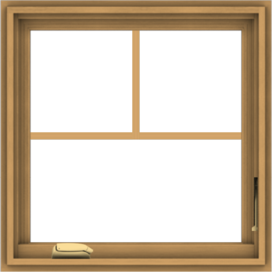 WDMA 24x24 (23.5 x 23.5 inch) Pine Wood Dark Grey Aluminum Crank out Casement Window with Fractional Grilles