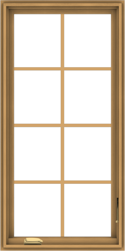 WDMA 24x48 (23.5 x 47.5 inch) Pine Wood Dark Grey Aluminum Crank out Casement Window with Colonial Grids