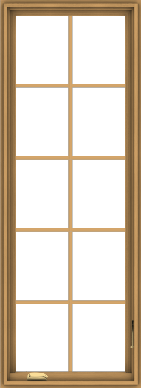 WDMA 24x66 (23.5 x 65.5 inch) Pine Wood Dark Grey Aluminum Crank out Casement Window with Colonial Grids