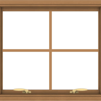 WDMA 28x24 (27.5 x 23.5 inch) Oak Wood Green Aluminum Push out Awning Window with Colonial Grids Interior