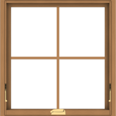 WDMA 28x30 (27.5 x 29.5 inch) Oak Wood Dark Brown Bronze Aluminum Crank out Awning Window with Colonial Grids Interior