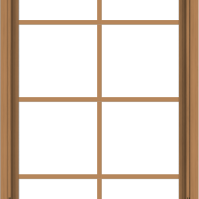 WDMA 28x48 (27.5 x 47.5 inch) Oak Wood Dark Brown Bronze Aluminum Crank out Awning Window with Colonial Grids Interior