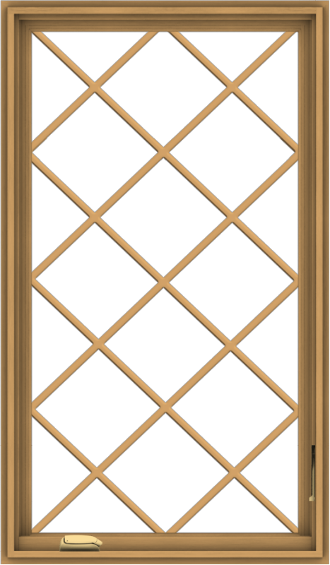 WDMA 28x48 (27.5 x 47.5 inch) Pine Wood Dark Grey Aluminum Crank out Casement Window without Grids with Diamond Grills