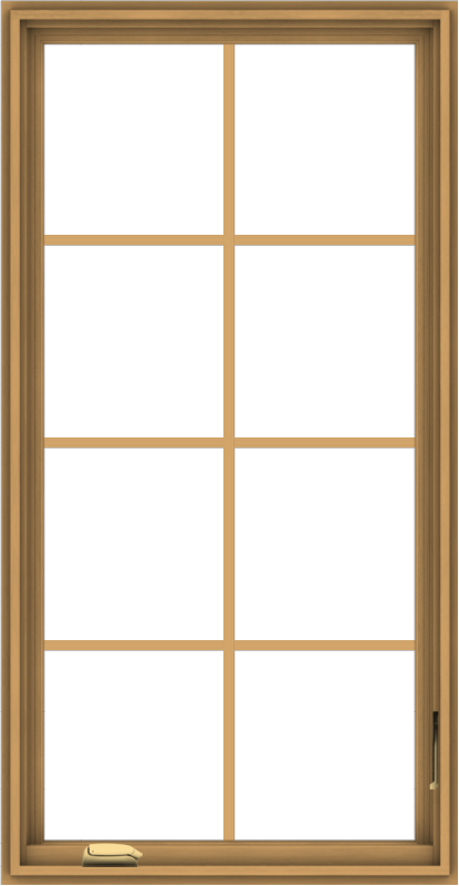 WDMA 28x54 (27.5 x 53.5 inch) Pine Wood Dark Grey Aluminum Crank out Casement Window with Colonial Grids