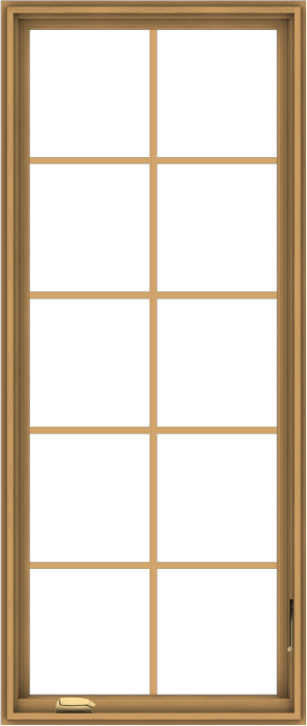 WDMA 28x66 (27.5 x 65.5 inch) Pine Wood Dark Grey Aluminum Crank out Casement Window with Colonial Grids