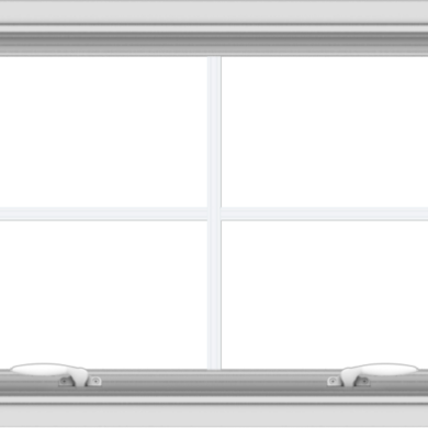 WDMA 30x20 (29.5 x 19.5 inch) White uPVC Vinyl Push out Awning Window with Colonial Grids Interior