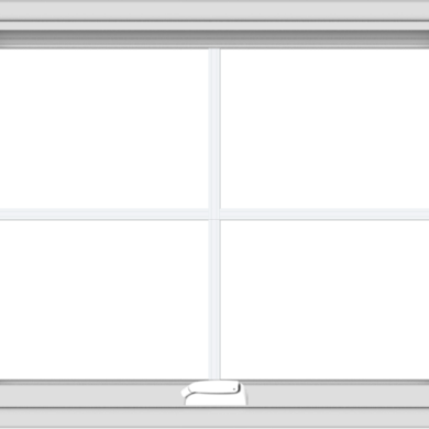 WDMA 30x24 (29.5 x 23.5 inch) White Vinyl uPVC Crank out Awning Window with Colonial Grids Interior