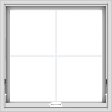 WDMA 30x30 (29.5 x 29.5 inch) White Vinyl uPVC Crank out Awning Window with Colonial Grids Interior