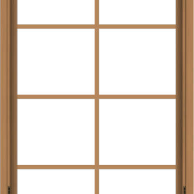 WDMA 30x48 (29.5 x 47.5 inch) Oak Wood Dark Brown Bronze Aluminum Crank out Awning Window with Colonial Grids Interior