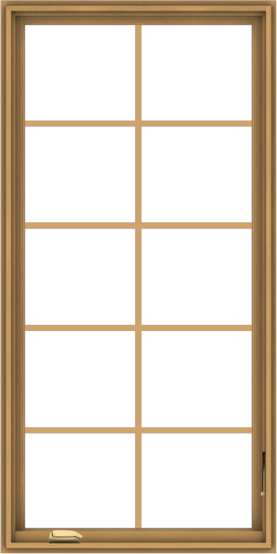 WDMA 30x60 (29.5 x 59.5 inch) Pine Wood Dark Grey Aluminum Crank out Casement Window with Colonial Grids