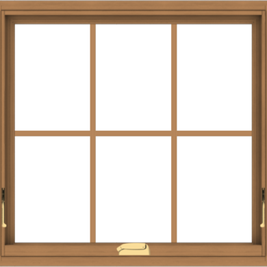 WDMA 32x30 (31.5 x 29.5 inch) Oak Wood Dark Brown Bronze Aluminum Crank out Awning Window with Colonial Grids Interior