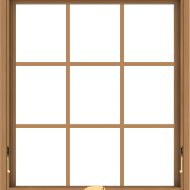 WDMA 32x36 (31.5 x 35.5 inch) Oak Wood Dark Brown Bronze Aluminum Crank out Awning Window with Colonial Grids Interior