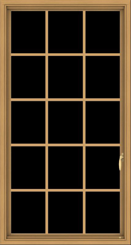 WDMA 32x60 (31.5 x 59.5 inch) Pine Wood Light Grey Aluminum Push out Casement Window without Grids