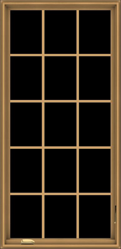 WDMA 32x66 (31.5 x 65.5 inch) Pine Wood Dark Grey Aluminum Crank out Casement Window without Grids