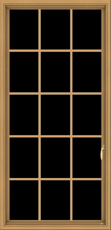WDMA 32x66 (31.5 x 65.5 inch) Pine Wood Light Grey Aluminum Push out Casement Window without Grids