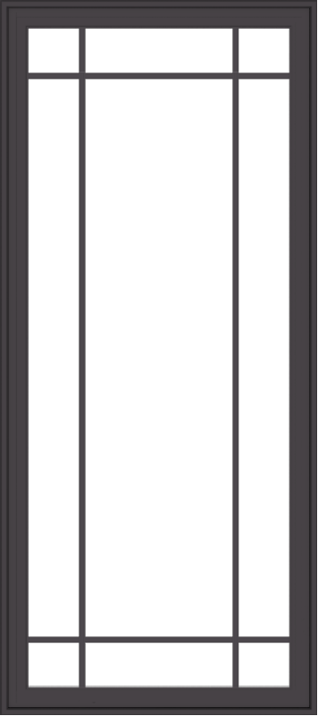 WDMA 32x72 (31.5 x 71.5 inch) Pine Wood Dark Grey Aluminum Crank out Casement Window with Prairie Grilles