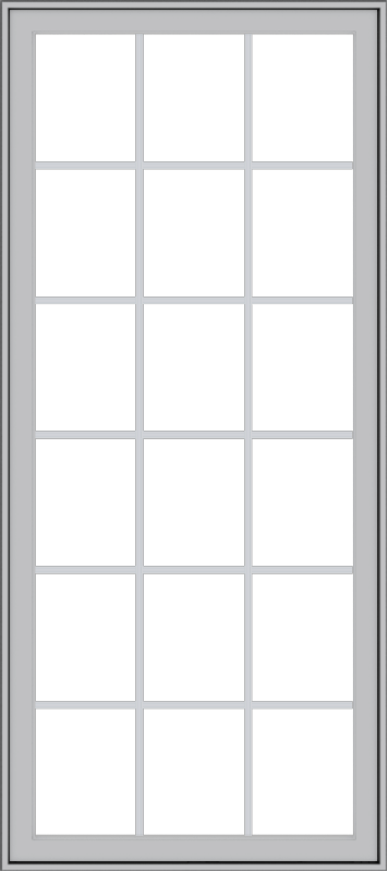 WDMA 32x72 (31.5 x 71.5 inch) Pine Wood Light Grey Aluminum Push out Casement Window with Colonial Grids Exterior