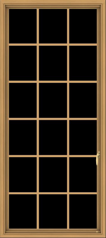 WDMA 32x72 (31.5 x 71.5 inch) Pine Wood Light Grey Aluminum Push out Casement Window without Grids