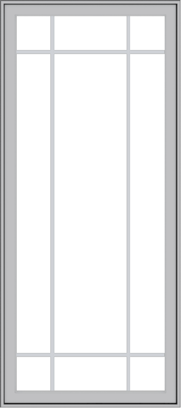 WDMA 32x72 (31.5 x 71.5 inch) Pine Wood Light Grey Aluminum Push out Casement Window with Prairie Grilles