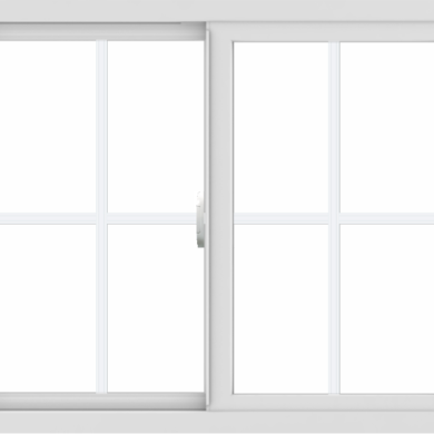 WDMA 36x30 (35.5 x 29.5 inch) Vinyl uPVC White Slide Window with Colonial Grids Exterior