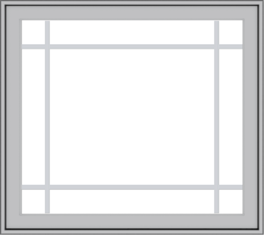 WDMA 36x32 (35.5 x 31.5 inch) Pine Wood Light Grey Aluminum Push out Casement Window with Prairie Grilles