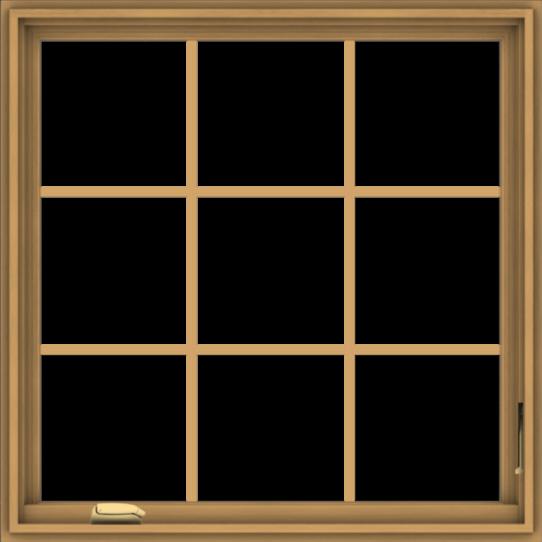 WDMA 36x36 (35.5 x 35.5 inch) Pine Wood Dark Grey Aluminum Crank out Casement Window without Grids