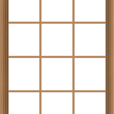 WDMA 36x48 (35.5 x 47.5 inch) Oak Wood Green Aluminum Push out Awning Window with Colonial Grids Interior