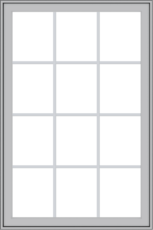 WDMA 36x54 (35.5 x 53.5 inch) Pine Wood Light Grey Aluminum Push out Casement Window with Colonial Grids Exterior